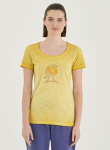 Garment Dyed T-Shirt aus Bio-Baumwolle mit Küken-Print - ORGANICATION