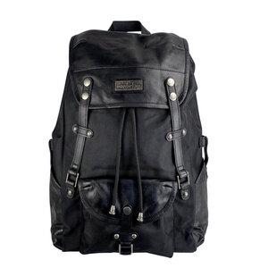 Robuster Laptop Rucksack Athena aus recyceltem Nylon Gewebe und Rinds-Leder - manbefair