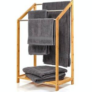 Handtuchhalter mit 3 Streben aus Metall | freistehende Handtuchablage ca. 85x51x31cm Bambus  - Bambuswald