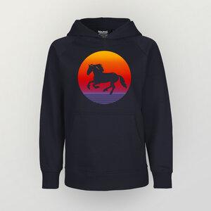 """""""Sunsethorse"""" Kinder Hoody aus reiner Biobaumwolle (kbA) - HANDGEDRUCKT"""