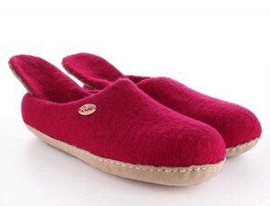 Handgefilzte Pantoffeln mit Wechselfußbett aus anatomisch geformten Wollfilz - WoolFit