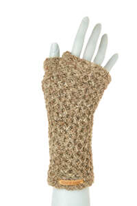 Schurwollhandstulpen mit Wabenstrickmuster, handgestrickt - short'n'pietz