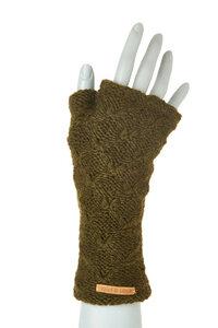Schurwollhandstulpen mit Rautenstrickmuster, handgestrickt - short'n'pietz