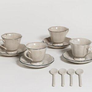 Attic - Set 4 Tassen mit Untertassen und 4 Teelöffel - The Table