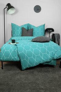 "Renforcé Bettwäsche ""Simple Geometric Petrol"" 135x200cm + 80x80cm 2-tlg 100% Bio-Baumwolle Made in Green - jilda-tex"