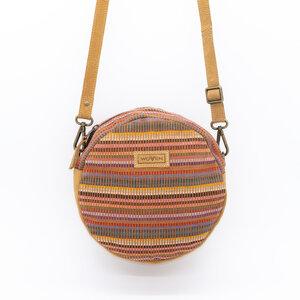 """Damen Tasche Umhängetasche Rundtasche """"Woven Lea Round Side Bag"""" Leder/Baumwolle - Woven"""