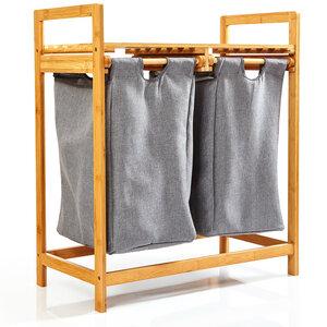Wäschekorb mit 2 ausziehbaren Wäschesäcken aus Bambus - Regal für Bad & Schlafzimmer ca. 73x64x33cm - Bambuswald