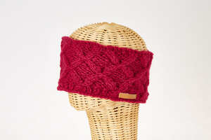 Schurwollstirnband mit Zopfrautenmuster, handgestrickt - short'n'pietz