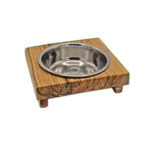 Futternapf LUCKY (0,2 l-Metallschale) für Hunde & Katzen aus Olivenholz - Olivenholz erleben