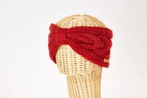Schurwollstirnband mit Zopfmuster und Knoten, handgestrickt - short'n'pietz