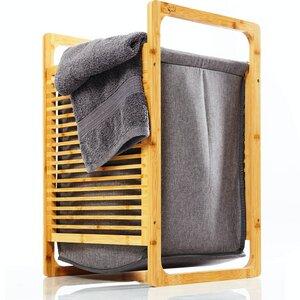 Wäschesammler aus Bambus | herausnehmbare Faltbox aus Stoff - Regal für Bad & Schlafzimmer ca. 60x40x35cm - Bambuswald