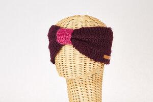Schurwollstirnband zweifarbig mit Knoten, handgestrickt - short'n'pietz