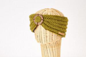 Schurwollstirnband Rippstrick mit Knopf aus Kokosnussholz, handgestrickt - short'n'pietz
