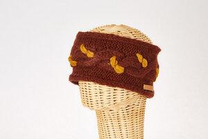 Schurwollstirnband zweifarbig mit Zopfmuster, handgestrickt - short'n'pietz