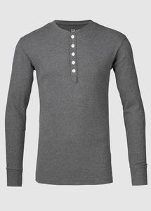 Rib Knit Henley GOTS Dark Grey Melange - KnowledgeCotton Apparel