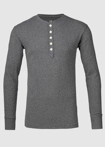 Rib Knit Henley GOTS Dark Grey Melange - KnowledgeCotton Apparel