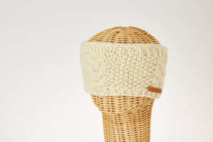 Schurwollstirnband mit senkrechtem Zopfmuster, handgestrickt - short'n'pietz