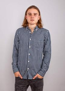 Checked Shirt With Fishbone Effect Majolica Blue - KnowledgeCotton Apparel