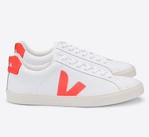 Sneaker Damen  - Esplar Logo Leather - Extra White Orange Fluo - Veja
