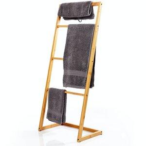 Handtuchleiter aus 100% ökologischen Bambus ca. 100x40x28cm für Badezimmer, Schlafzimmer & Wohnzimmer - Bambuswald