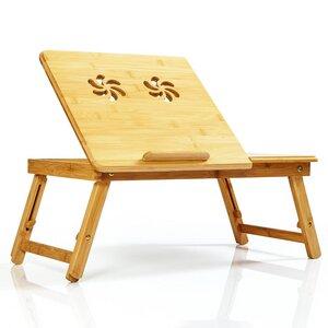 Klappbarer Laptoptisch | Notebooktisch Bambus inkl. Schublade - 55x35x23cm faltbar & höhenverstellbar - Bambuswald