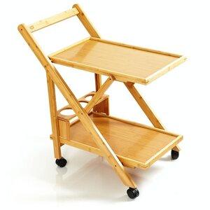 Servierwagen | Küchenwagen aus 100% Bambus - ökologischer Rollwagen inkl. Flaschenhalter - Bambuswald