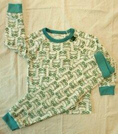 Langarmpyjama weiß mit grünen Fröschen - Fred's World by Green Cotton