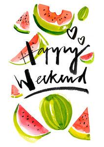 Happy Weekend - Poster von Ekaterina Koroleva - Photocircle
