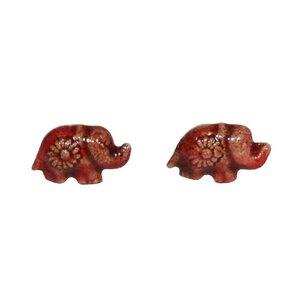Schmuck Ohrstecker Elefant Keramik - Schönes aus Indochina