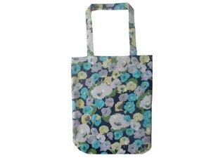 Leesha WILDe Upcycling Stoffbeutel / Schultertasche Blaue Blumen - Leesha