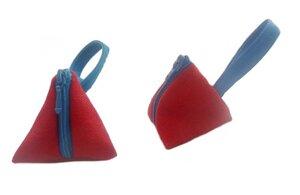 Schlüsselanhänger Tasche Rot-Blau, Upcycling von Leesha Design - Leesha