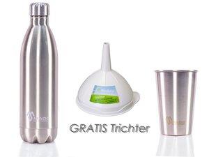 Edelstahl Flasche + Becher in Silber und Gratis Trichter aus Biokunststoff - Made Sustained