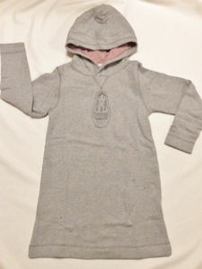 Sweatkleid mit Hoodie und Mamutschka Aufdruck - Cotton People Organic