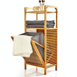 Wäschesammler mit zwei Ablagefächern aus Bambus | herausnehmbare Faltbox aus Stoff - Regal für Bad & Schlafzimmer - Bambuswald
