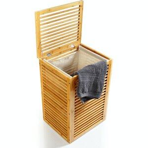 Wäschesammler mit integrierten  Wäschesack | ca. 61,5x42,5x31,5cm - Wäschetruhe aus Bambus & mit Deckel - Bambuswald