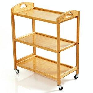 Servierwagen | Küchenwagen aus 100% Bambus mit 3 Etagen  - ökologischer Rollwagen inkl. Flaschenhalter - Bambuswald
