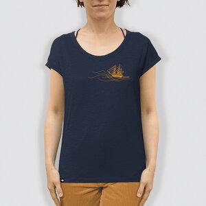 """Damen T-Shirt, """"Rückenwind"""", Navy, locker geschnitten - little kiwi"""
