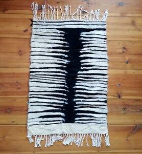 Handgewebter Kelim Berber Teppich mit Wolle und Ziegenhaar 'Zebra' - LaMalve