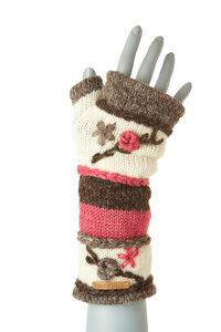 Schurwollhandstulpen gestreift mit Blumen bestickt - short'n'pietz