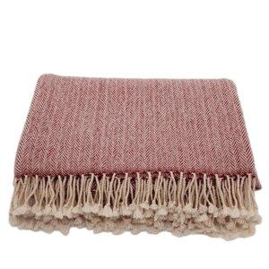 Decke (100% Wolle) im Fischgrät-Muster - Frida Feeling