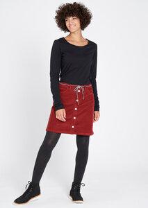 Damen Cord-Rock aus Bio Baumwolle rot   Corduroy Skirt - recolution
