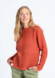 Damen Strickpullover aus Bio Baumwolle orange | Crew Neck #STRUCTURE - recolution