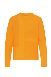 Damen Strickpullover aus Bio Baumwolle orange | Crew Neck #STRUCTURE - recolution