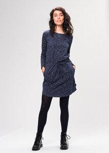 Gemustertes Damen Kleid aus Bio Baumwolle blau | Jerseydress #CITYLIGHTS - recolution