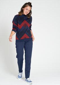 Gemusterter Damen Strickpullover aus Bio Baumwolle blau/rot | Crew Neck #ZIGZAG - recolution