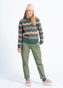 Gemusterter Damen Strickpullover aus Bio Baumwolle rosa/rot/grün | Knit Crew Neck #ZIGZAG - recolution