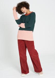 Damen Strickpullover #BOYFRIEND aus Bio Baumwolle grün/rosa | Crew Neck #BOYFRIEND - recolution
