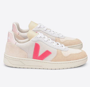 Sneaker Damen - V-10 Suede Multico - Natural Rose Fluo - Veja