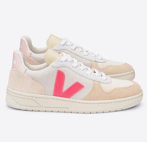 Sneaker Damen - V-10 Suede Multico - Natural Rose Fluo - Veja