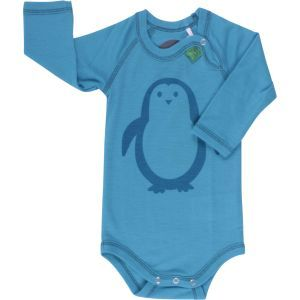 Woll-Langarmbody Pinguin blau - Fred's World by Green Cotton